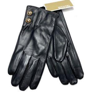 Michael Kors black leather gold button tech gloves